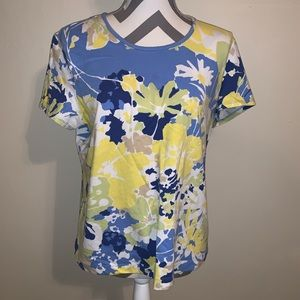 Chico's Floral Round Neck Tee.